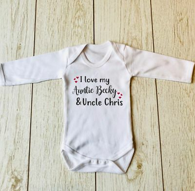 I LOVE MY AUNTIE AND UNCLE PERSONALISED LONG SLEEVED BABY BODY VEST BODYSUIT