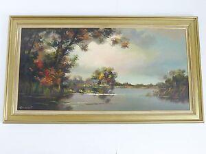 Darmont Ou Darmant : Importante Toile Peinture Tableau 138 X 77 Cm Signee R9lcceqt-10121208-252204381