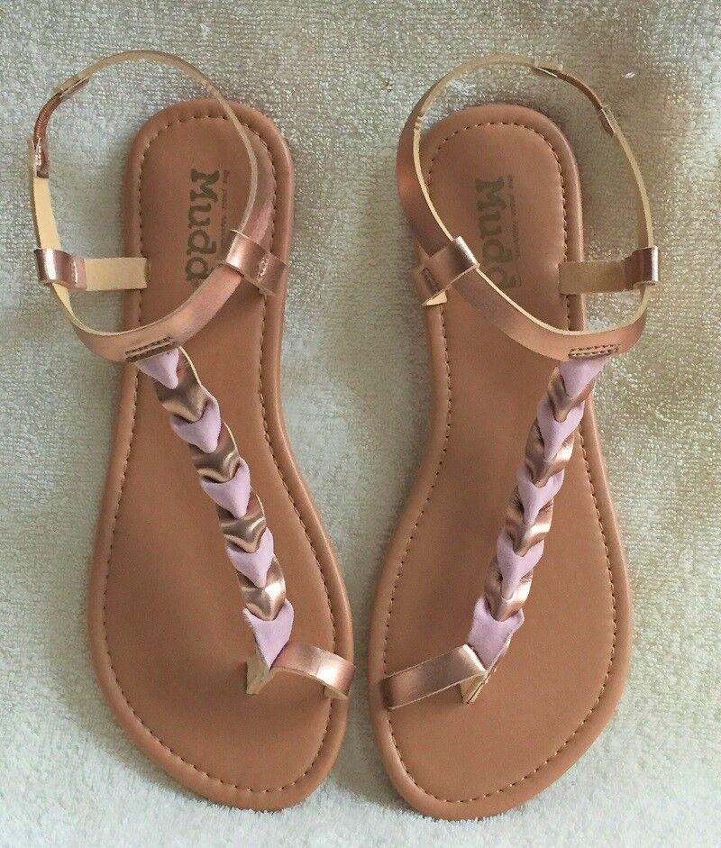 39d28663ea08ee Women s Mudd Sandals Tan   Rose Gold Braid Flip Flops Size Large 9 ...