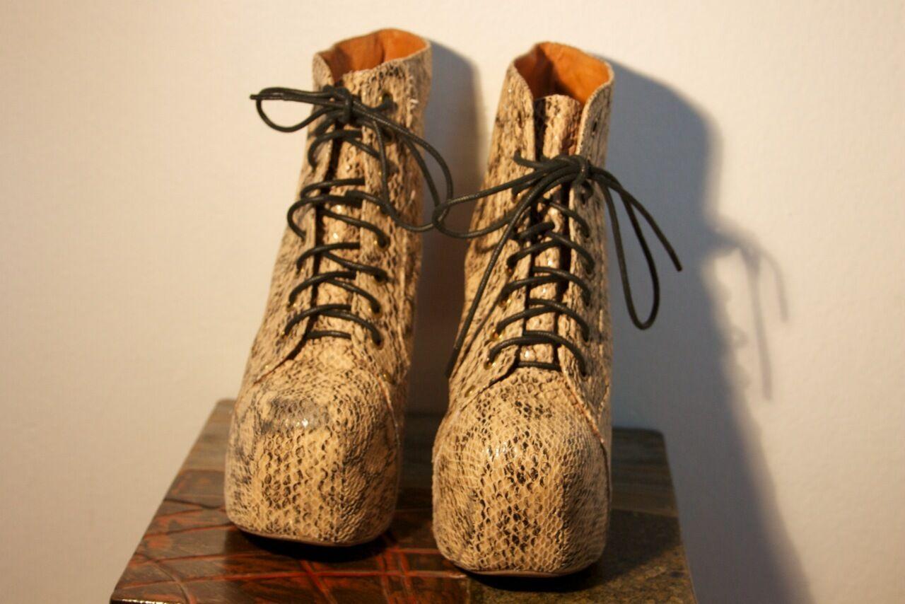 Jeffrey Campbell Leather Snakeskin Lita Booties Size 6.5