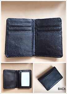 New-Mens-Bifold-Leather-ID-Wallet-Black-Multi-Holder-Credit-Card-Slot-Window-C18