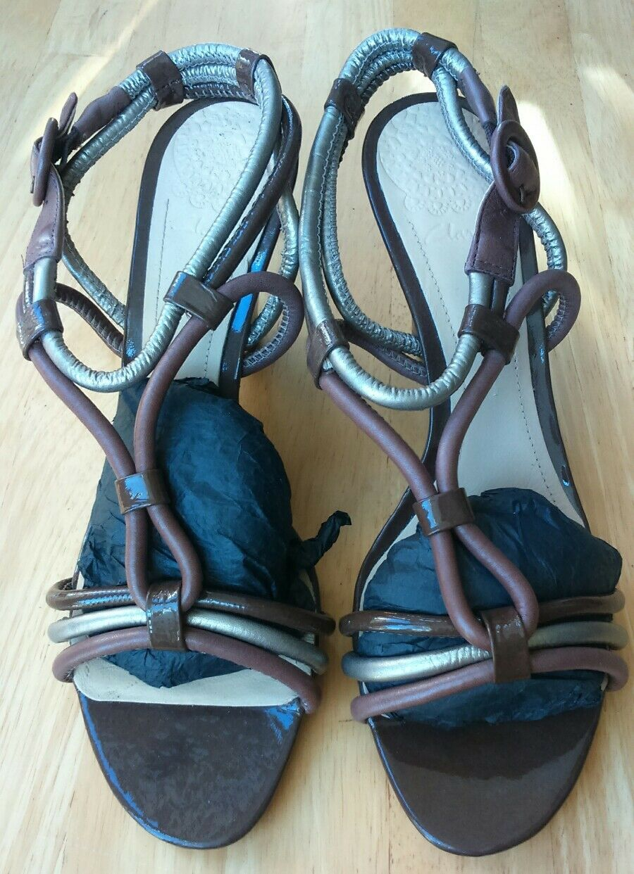 CLARKS SIZE 7 BROWN gold STRAPPY LEATHER WEDGE SANDALS WORN ONCE FREE P&P
