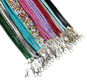 Quality-Bling-Lanyard-Rhinestone-Diamante-Crystal-Neck-ID-Card-Mobile-Holder-LC