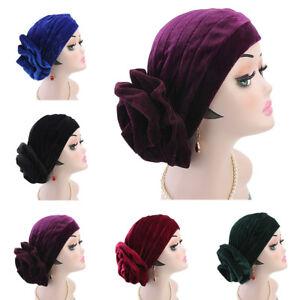 Muslim Hijab Women Turban Cap Cancer Chemo Hat Velvet Hair Loss Head ... 2ad36b07637a