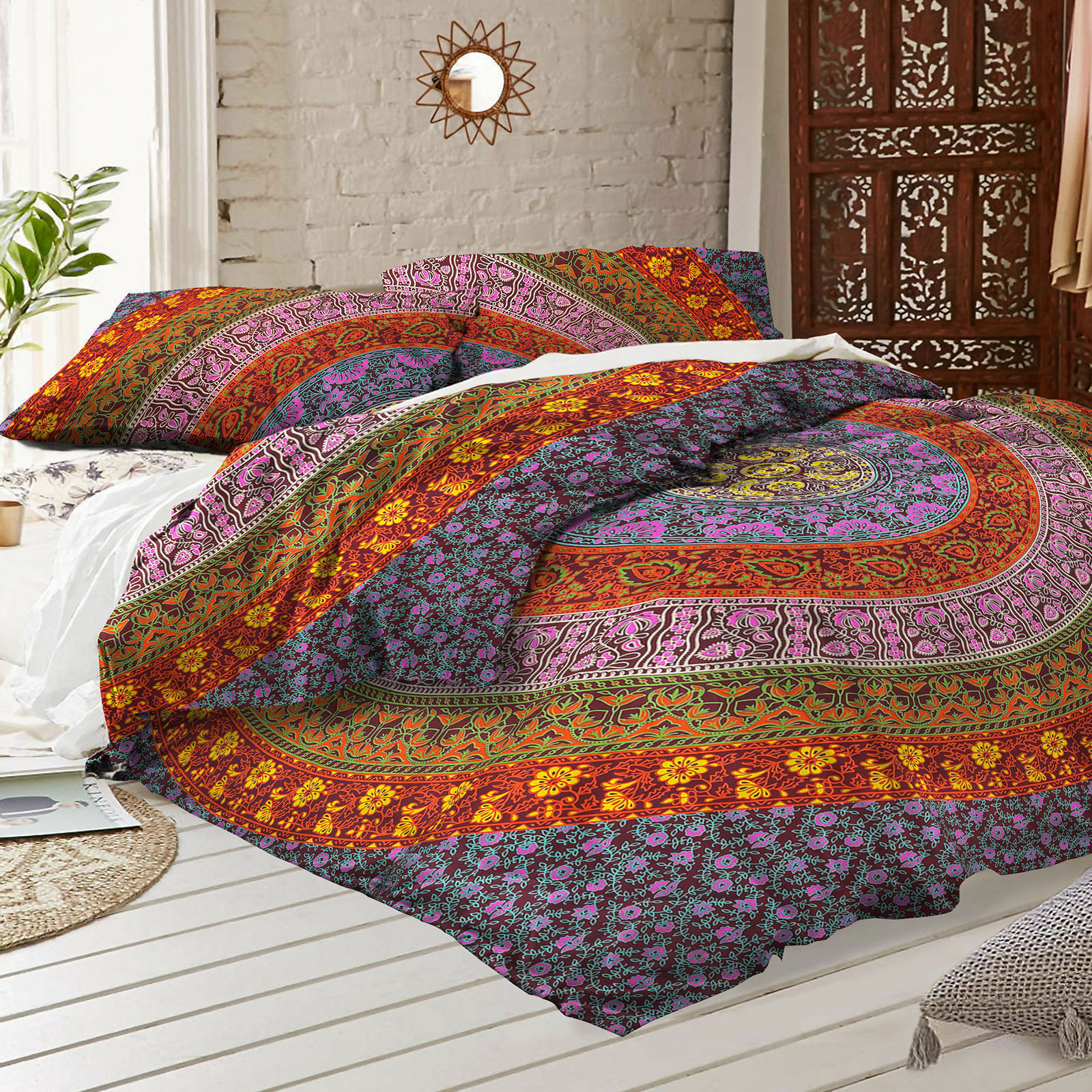 Mandala Indian Duvet Doona Cover Throw Boho Quilt Cover Bohemian Double Bedding