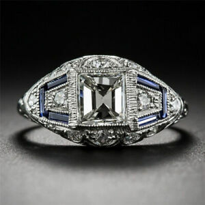 Vintage-925-Plated-Silver-White-Topaz-Sapphire-Engagement-Wedding-Ring-Wholesale