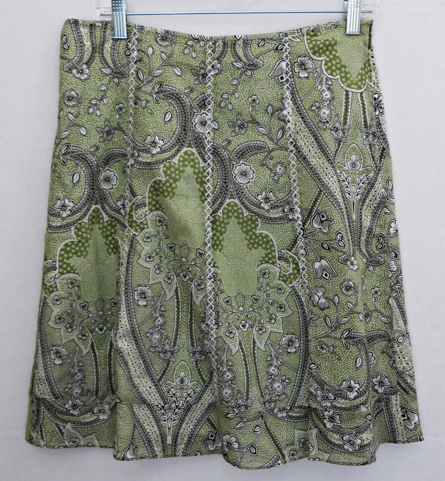 NWOT Ann Taylor Lined Lime Green Floral Flare 100% Fine Cotton Skirt Size 6