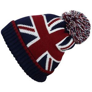 Women s Men s Beanie Hats British Flag Union Jack Pom Pom Knitted ... 95e9e3abb2e