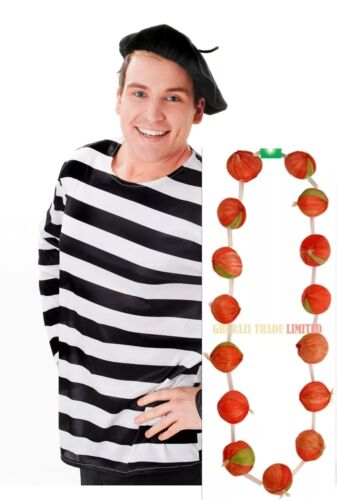 GARLAND RED ONION FRENCH STRINGS NECKLACE BERET HAT FANCY DRESS ACCESSORY