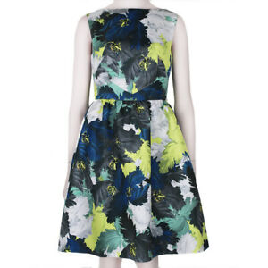 Erdem-Luxurious-Blue-Grey-Yellow-Tone-Floral-Kenya-Dress-UK10-IT42