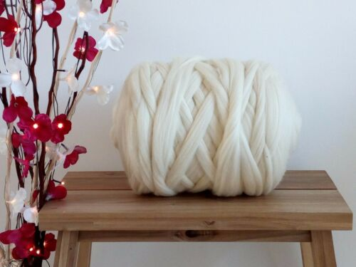 1 kg Natural White* Merino Wool Roving Giant Yarn Extreme Arm Knitting 100 g