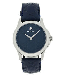 2321a4c5305 Gucci G-timeless Guccissima Motifs Blue Dial Blue Leather Straps ...