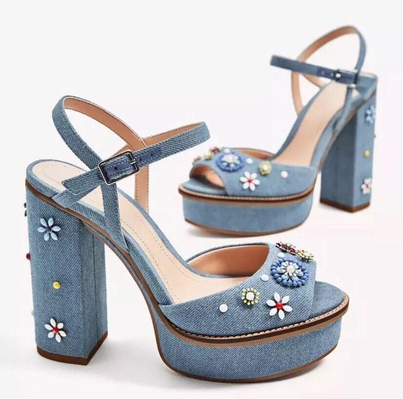 Zara Woman Plateau Hippie Sandalette Sandale High Heel Denim Gr. 39 Neu