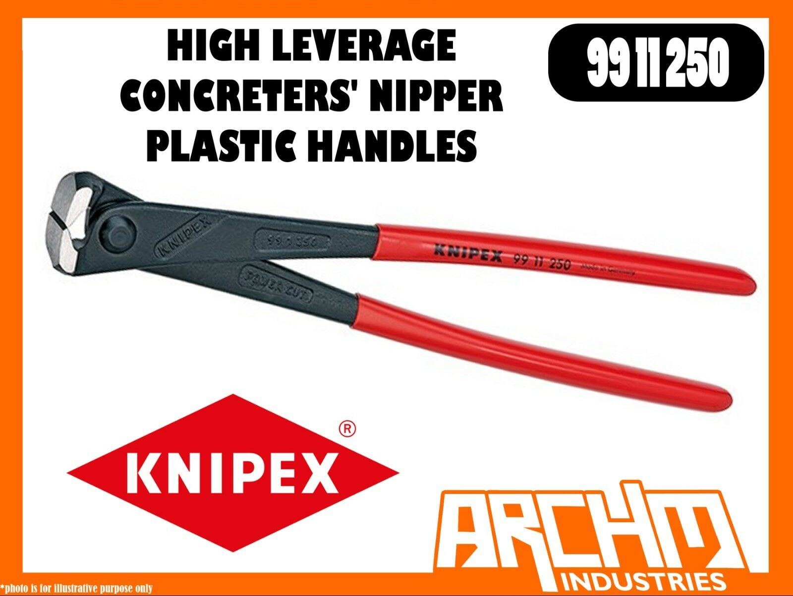 KNIPEX 9911250 - HIGH LEVERAGE CONCRETERS' NIPPER - PLASTIC HANDLES - 250MM