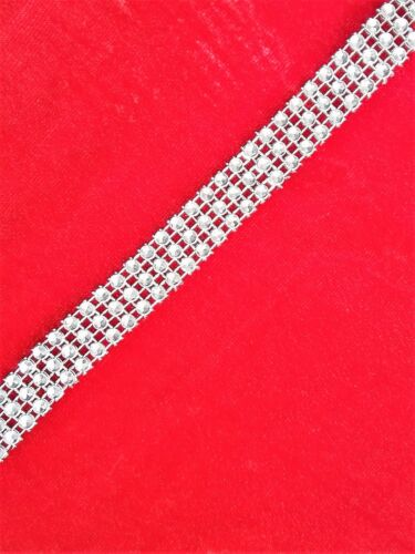 1M  SILVER DIAMANTE  SPARKLY EFFECT RHINESTONE DIAMONTE MESH RIBBON CAKE TRIM