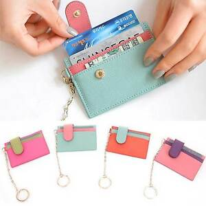 Women Slim Holder Genuine Leather Credit Card Case Business Card Wallet Keychain Ebay
