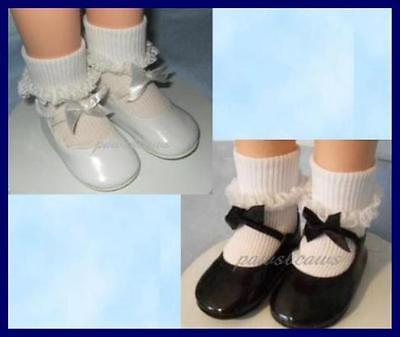 Ships Free Black Patent BOW SHOES 3.75 x 1.5 inches fit CHARMIN CHATTY Doll U.S