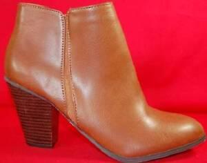 Women S Soda Tevay Brown Heels Zip Up Casual Dress Ankle