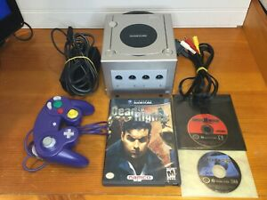 Nintendo Game Cube Platinum Console DOL 101  With Cords. TESTED Three Games