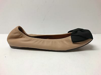 LANVIN Nude And Black Lambskin CLASSIC Bow Ballerina Flats 37 US 7 $595