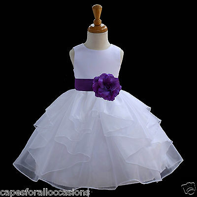 NEW WHITE WEDDING FLOWER GIRL DRESS PAGEANT BRIDESMAID ORGANZA 6M 18M 2 4 6 8 10