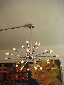 POLISHED CHROME SPUTNIK LIGHT FIXTURE CHANDELIER W/ BULBS   MADE IN U.S.A. USA