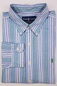 outlet store 968d6 1ddc8 Dettagli su Ralph Lauren su Misura Camicia Grande a Righe Blu Verde  Multicolore da Uomo