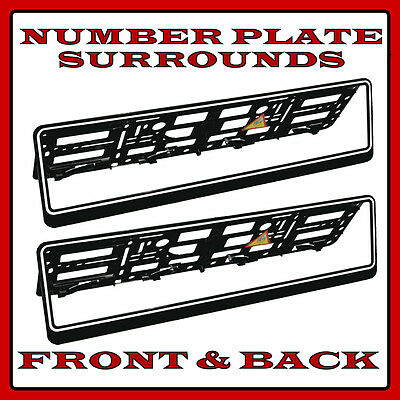 2x Number Plate Surrounds Holder White Rim for Ford Fiesta Ecoboost