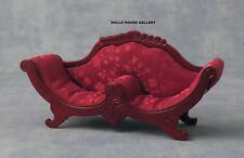 Deep Red Cushioned Mahogany Sofa, Doll House Miniature Furniture, Seating 1.12th