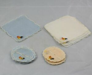 Madeira-Hand-Embroidered-Linen-Cocktail-Napkins-amp-Stem-Coasters-Chickens-26-Pcs