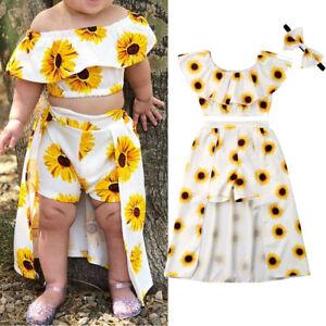 ae208fda63 US 3PCS Toddler Kids Baby Girl Sunflower Crop Tops Shorts Dress ...