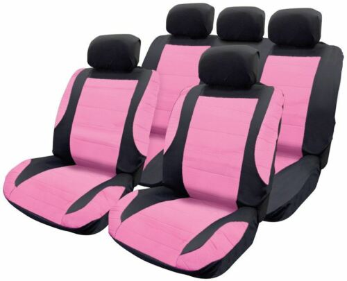 Pink Leather Look Car Seat Covers Steering wheel for Fiat Panda 04-On