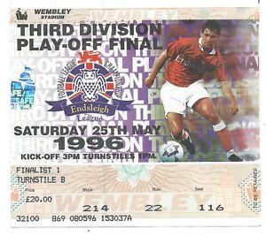 FOOTBALL-LEAGUE-3rd-DIV-1996-Wembley-Stadium-original-ticket-PLYMOUTH-DARLINGTON
