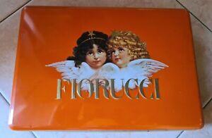 FIORUCCI, angeli, scatola in latta, arancio, vintage, anni 80