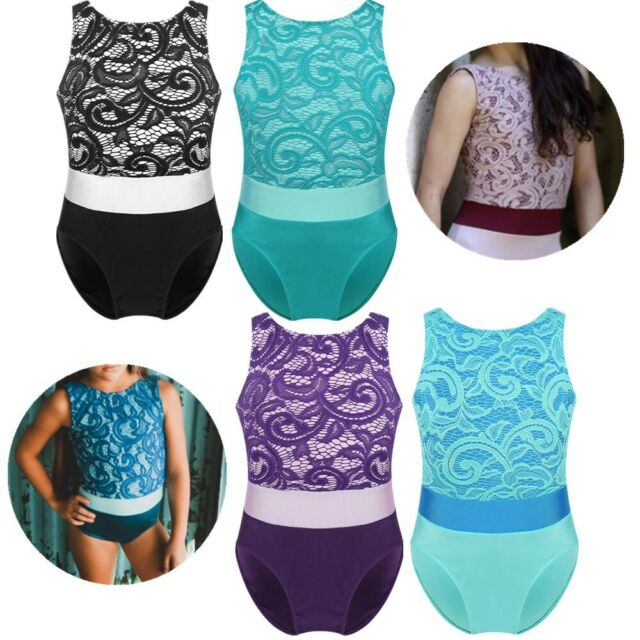 Moresave Girls Leotards Shining Stripes Dancewear Ballet Gymnastics Athletic Bodysuit