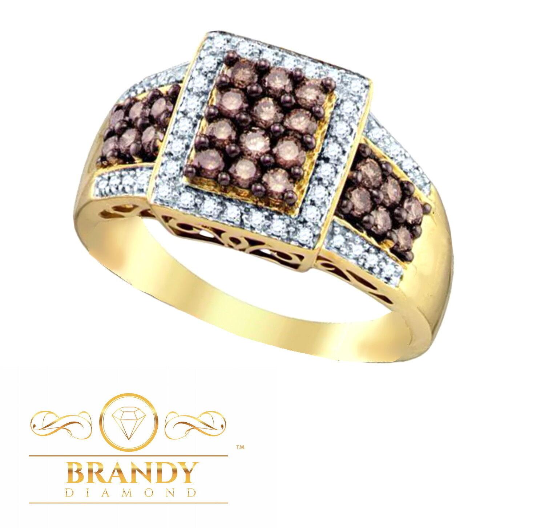 10K Yellow gold Brandy &  White Diamond Chocolate Brown Lavish Pretty Ring .69 C