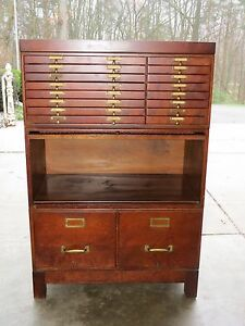 ... Antique Wagemaker 18 Drawer 3 Section Wooden Map