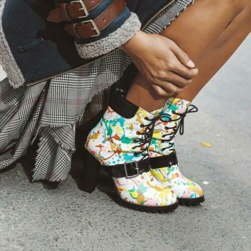 Bottines femme à lacets Coloré Impression Bloc Cheville Bottillons Femmes boucle talons hauts D