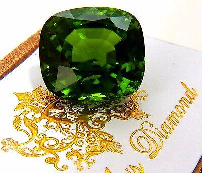 GIA Certified 48.09ct Natural Vivid Green Peridot Cushion VVS