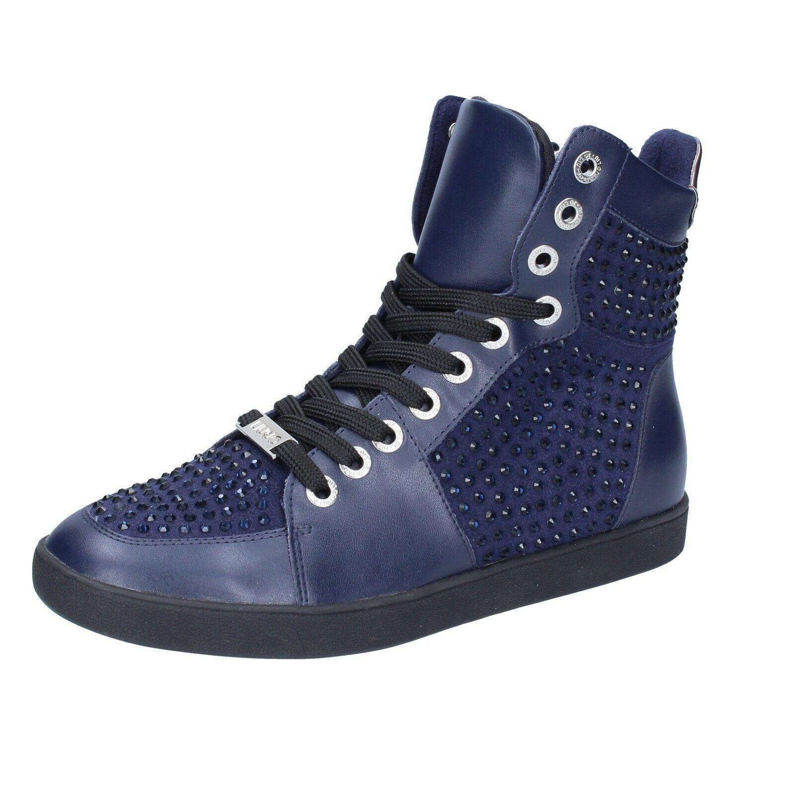 Zapatos señora liu jo 36 UE zapatillas azul de gamuza cuero pedrería bs649-36
