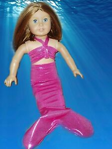 Hot-Pink-Mermaid-Outfit-Fits-American-girl-dolls-18-inch-Doll-Clothes