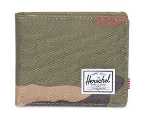 Herschel-Roy-PLUS-Coin-Rfid-Wallet-Portafoglio-Marrone-Verde-Nuovo
