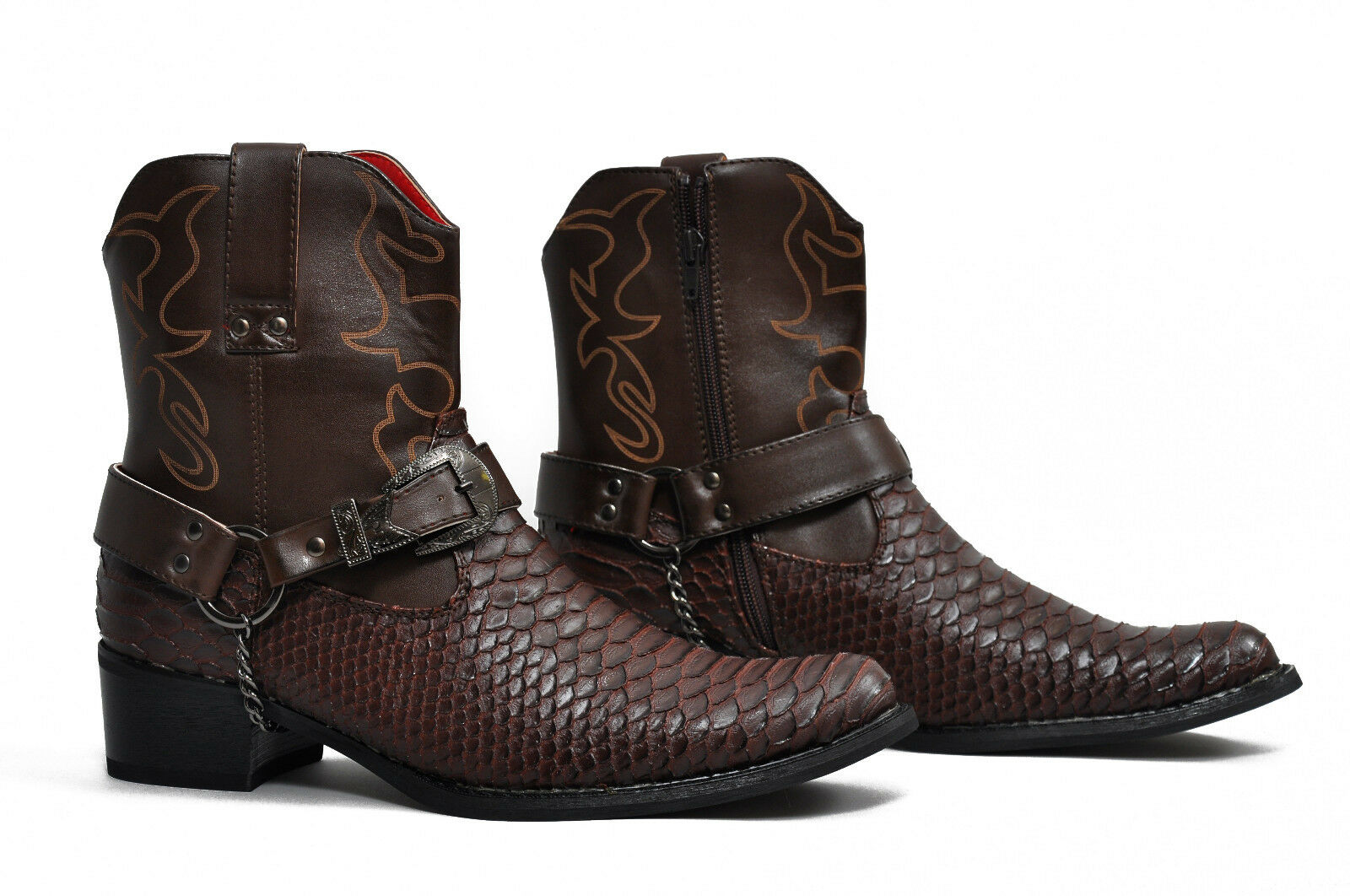 Mens Gents Western Style Snake Skin Cowboys Ankle Boots Colour Brown Size 8
