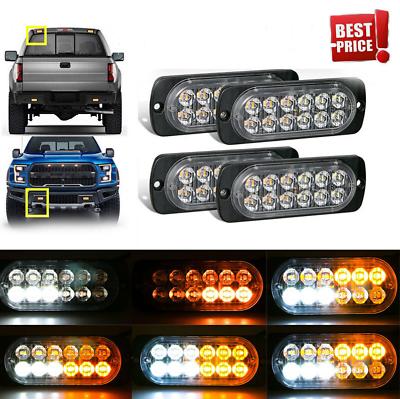 4x Amber 4 LED Car Truck Emergency Beacon Lamp Warning Hazard Flash Strobe Light