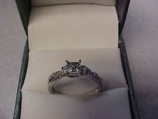 DIAMOND ENGAGEMENT RING 0.40 CARAT 1OK WHITE GOLD SIZE 6 QUAD STYLE 18 DIAMONDS