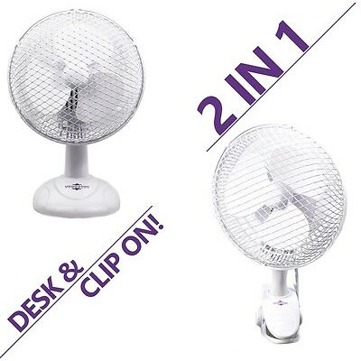 """6"""" INCH PORTABLE FAN 2 IN 1 SMALL DESKTOP CLIP ON TABLE DESK AIR COOLING 2 SPEED"""