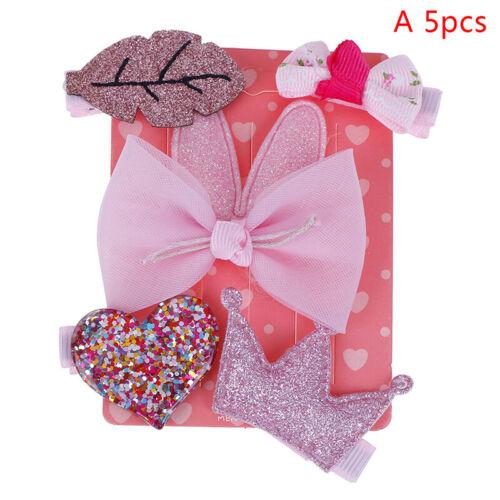 5pcs baby hair clips girl  headband bows chiffon cartoon elastic band  accessoBB