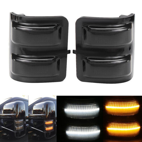 1 Pair Smoked Lens LED Side Mirror Marker Lights For 2008-16 Ford F250 F350 F450