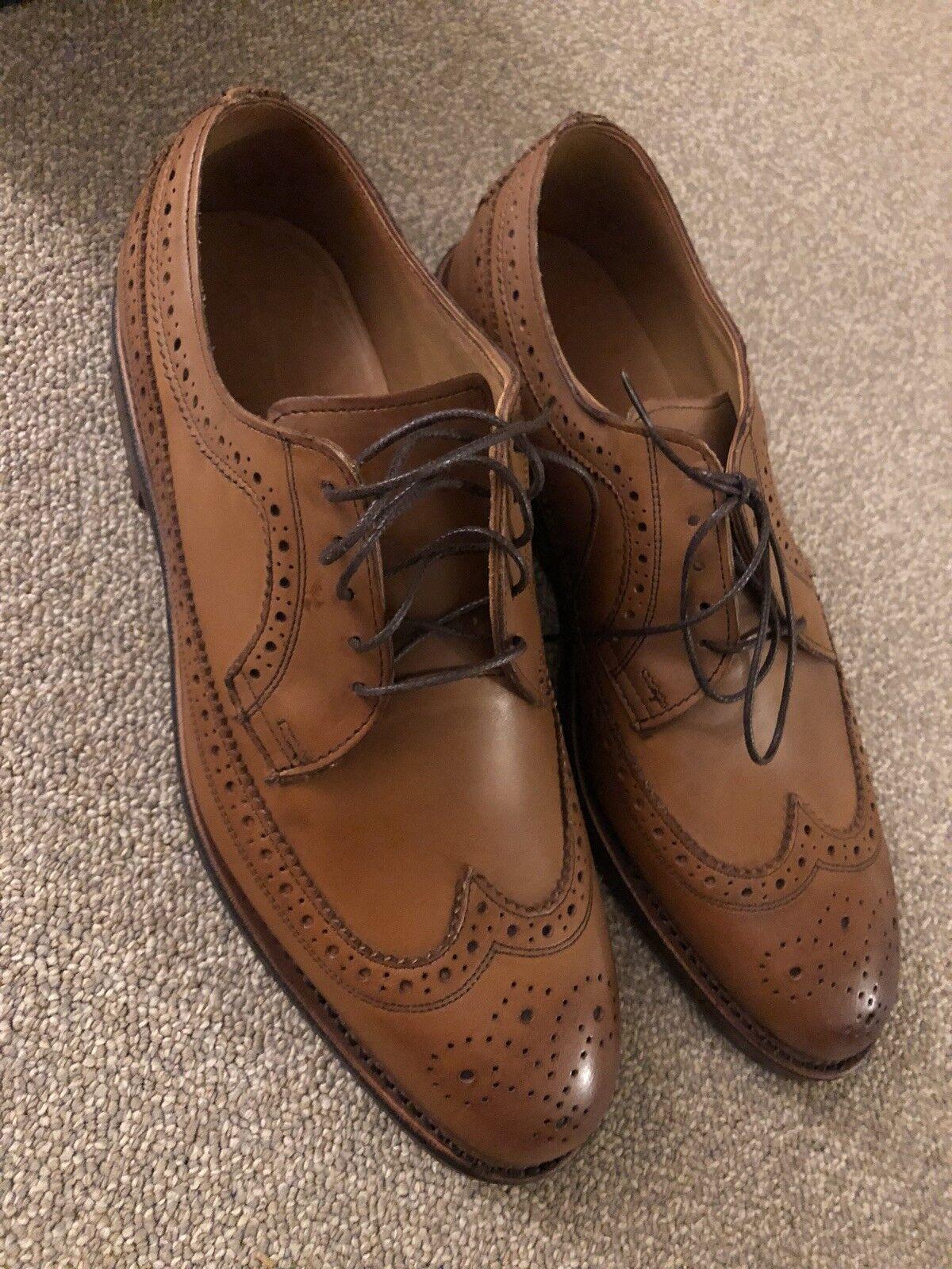 NEW Allen Edmonds for Polo Ralph Lauren Sanderson Long Wing Bluchers Tan 8D Scarpe classiche da uomo