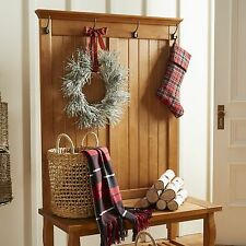 Entryway Hall Tree Rustic Coat/Hat Rack Stand 4-Hooks Wood Storage Seat Bench